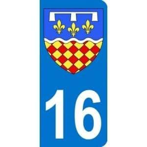Autocollant 16 avec blason Charente plaque immatriculation Auto (9,8 x 4,5 cm)
