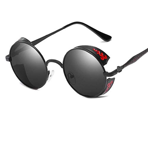 GUGU Sonnenbrille Brille Premium Qualität Retro Frauen Männer Runde Vintage rustikale Niet viktorianischen Punk-Stil Cyber   Schweißen Metall Unisex Circle Brille UK