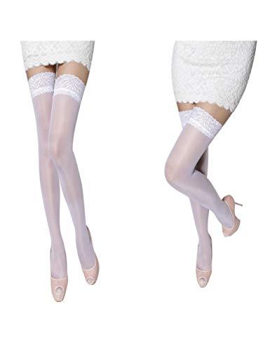 XHHH Damen Strümpfe/Strümpfe, Weiß, durchscheinend, Blumenstrümpfe für Oberschenkel hoch - 2