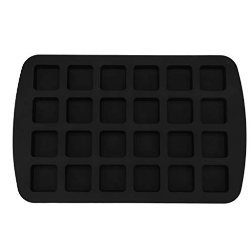 Dkings Biss-Größe Brownie Squares Silikonform, 24-Cavity, Kuchen Machen 24-Cavity Silikon Brownie Squares Backform Schokoladenform Backformen (Black)