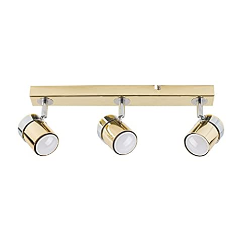 Modern 3 Way Adjustable Chrome & Polished Gold Effect Straight Bar Ceiling Spotlight Fitting