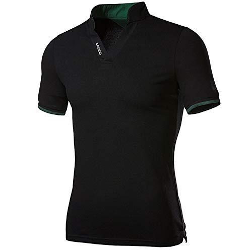 NISHISHOUZI Neue Stehkragen Polo Shirts Sommer Casual Male Baumwolle Kurzarm Kleidung Bequeme Polo Kurzarm schwarz tragen XXL -