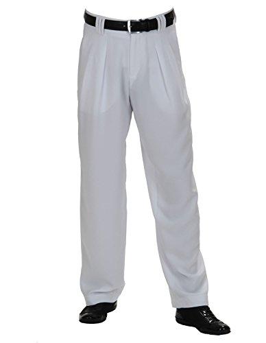 Herren Bundfaltenhose mit Extraweit geschnittene Beine in Weiß, Fifties Style Männer Hosen, Boogie STYL Größe 52