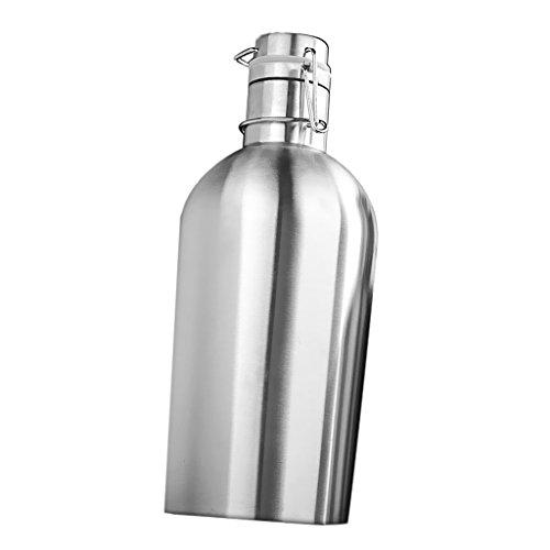 LOVIVER Flachmann Trinkflasche, Edelstahl Wasserflasche, Thermosflasche Halten Kalt, Silber, 2L