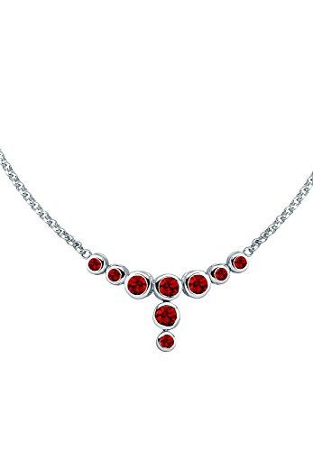 Elli Damen Kette mit Anhänger 925 Sterling Silber Swarovski Kristall Brillantschliff rot 0107840312 - 45cm Länge