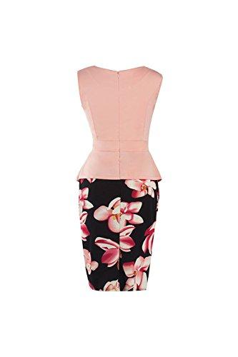Frauen 1940er Jahre Vintage Fake 2 Stücke Bodycon Peplum Kleid Pink