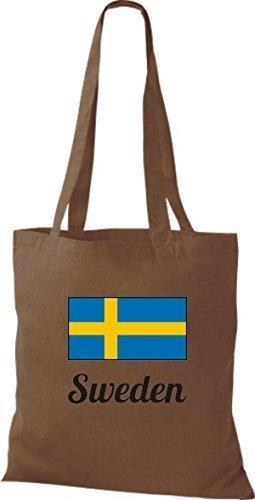 Camicia In Tessuto Borsa In Cotone Borsa Country Juta Svezia Svezia Colore Bordeaux Marrone Medio