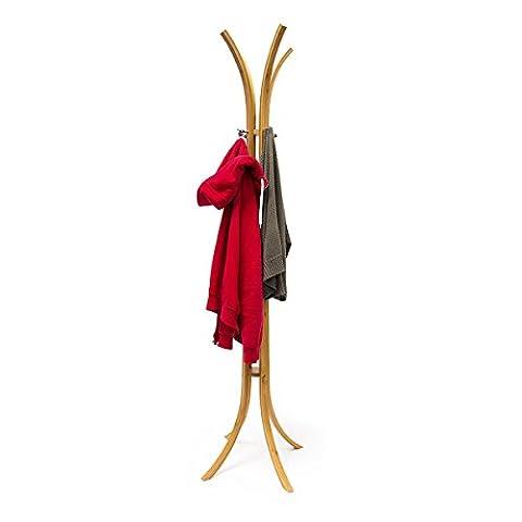 Relaxdays Porte-manteaux à poser en bois de bambou 4 patère crochet vêtements Rangement HxlxP: 175 x 50 x 50 cm, nature