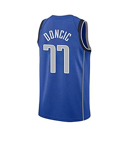 NBA-Trikot Für Herren, 77# Mavericks Luca Dongcic Star Player, Cooles, Atmungsaktives, Klassisch Gesticktes,Ärmelloses Basketball-T-Shirt,Blue,L:180cm/75~85kg - Gestickte Player