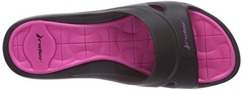 Rider - Slide Feet V, Sabot Donna Nero (Schwarz (Black/Pink 23757))