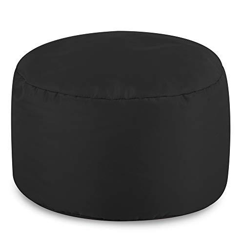 Bean Bag Bazaar runder Fußhocker für Innen und außen in Schwarz