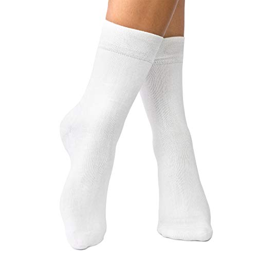 lampox Bambussocken (6x Paar) Atmungsaktiv Socken Business Sport Laufen Reduziert Schweiß(39-42, Weiß)