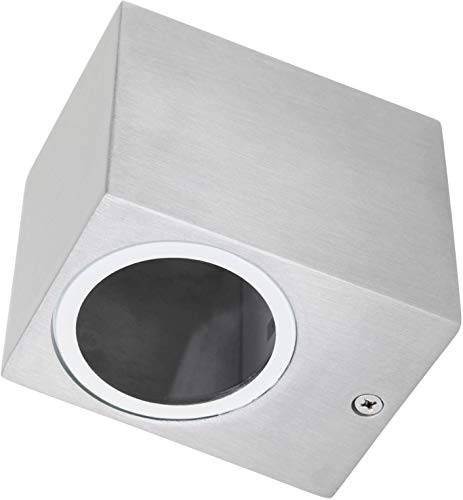 Aluminium Spot Wandstrahler IP44 GU10-1-flammig eckig edelstahl-poliert -