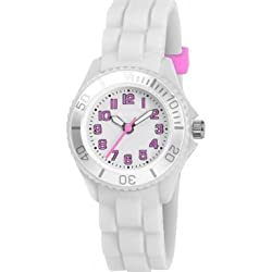 Tikkers Children's Quartz Watch with White Dial Analogue Display and White Silicone Strap TK0065