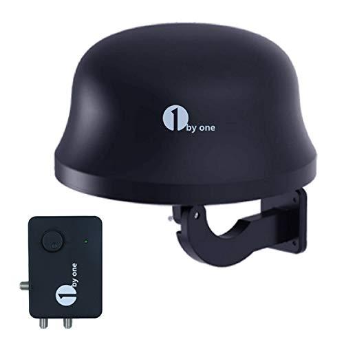 1byone 32db DVB-T/ T2 Antenne Digitale Zimmerantenne/Außenantenne mit verstärker 120 KM Reichweite Remote-Antennenempfang von HDTV-, DVB-T/DVB-T2- und Analogsignalen, mit eingebautem 4G LTE