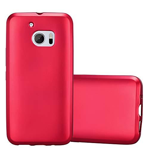 Cadorabo Hülle für HTC 10 (One M10) - Hülle in METALLIC ROT – Handyhülle aus TPU Silikon im Matt Metallic Design - Silikonhülle Schutzhülle Ultra Slim Soft Back Cover Case Bumper