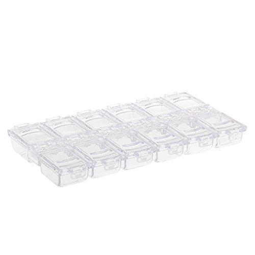 MagiDeal Plastique Boîte de Rangement Cas Vide Conteneur 12 Compartiments Pour Stockage Nail Art Tips Strass Scintillements - Clair, taille unique