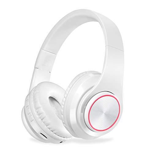 QLtech Kabelloser Over-Ear-Kopfhörer, Bluetooth Kopfhörer mit Mikrofon und LED-Licht,Funkkopfhörer für Fernseher, Wireless Headset für Handys Tablets,Laptops & PC,Faltbare/Leicht(Weiß)