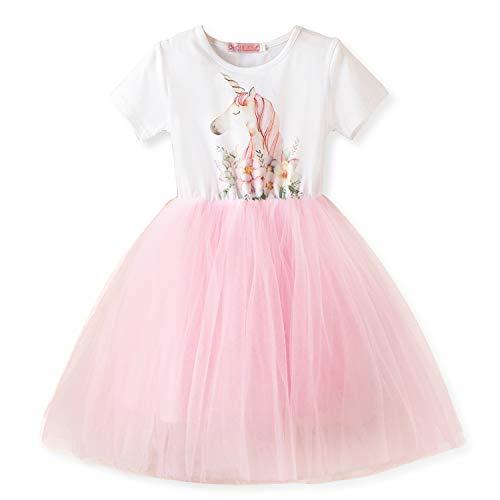 NNJXD Kleine Mädchen Einhorn T-Shirt + Tutu Rock, Sommer Casual Dress up Größe (130) 5-6 Jahre Weiß