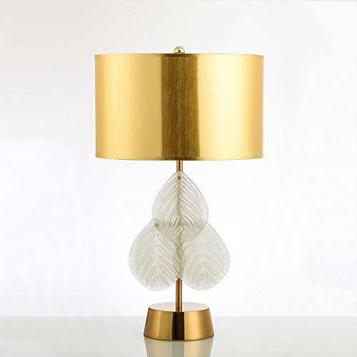 Golden Bronze Tischlampe (Amerikanischen einfachen blatt kristall tischlampe bronze schmiedeeisen modell zimmer kristall blatt tischlampe hohe 68 * breite 40 CM goldenen lampenschirm)