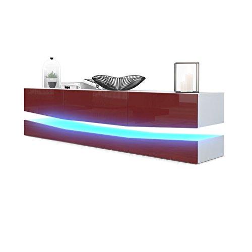 Meuble TV Armoire basse City, Corps en Blanc mat / Façades en Bordeaux haute brillance avec l'éclairage LED