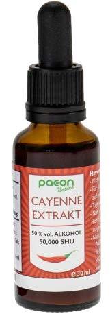 Paeon Natura Cayenne Extrakt Tropfen - 30ml Tinktur 50000 Scoville Natürlicher Vollextrakt hergestellt aus frischem Saft vollreife Cayennepfeffer Früchten eigener Anbau verbessert Blutfluss