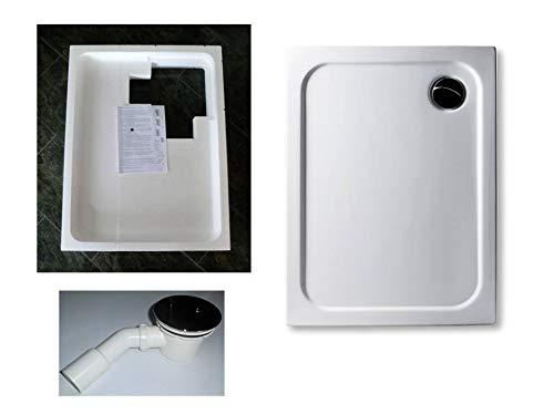 KOMPLETT-PAKET: Duschwanne 100 x 70 cm superflach 2,5 cm weiß Acryl + Styroporträger/Wannenträger + Ablaufgarnitur chrom DN 90
