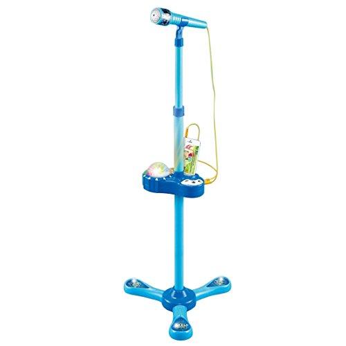 YAKOK Mikrofon Kinder, Einstellbar Karaoke Kinder Mikrofon mit Ständer Standmikrofon Kann Stecken MP3 und Mobiltelefon für Jungen 3-7 Jahre (Blau)