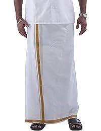 Cotton Crown Kings Men's Cotton Dhoti with Gold Jari (White, Free Size)