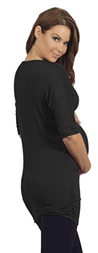Maternité Tunique des femmes Zip avant V-Neck manches 3/4 avec des volants Noir