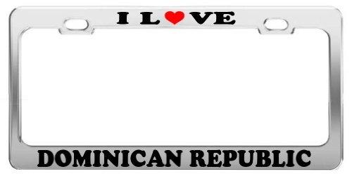 Lionkin8 I Love Dominikanische Republik Nummernschild Bilderrahmen Auto Truck Zubehör Tag Halter -