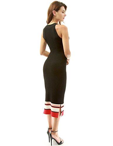 PattyBoutik Donne Vestito a maglia a coste del halter del blocco di colore nero, bianco e rosso