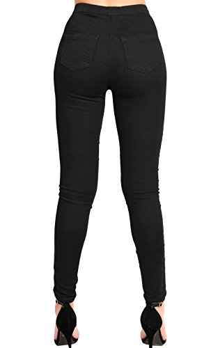 Women's Ladies Stunning Lace Up Skinny Jeans Black