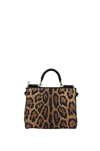 Handtasche Dolce&Gabbana Damen Stoff Leopard, Schwarz und Gold BB5966A71588S193 Beige 12x21x26 cm (Leopard Gabbana)