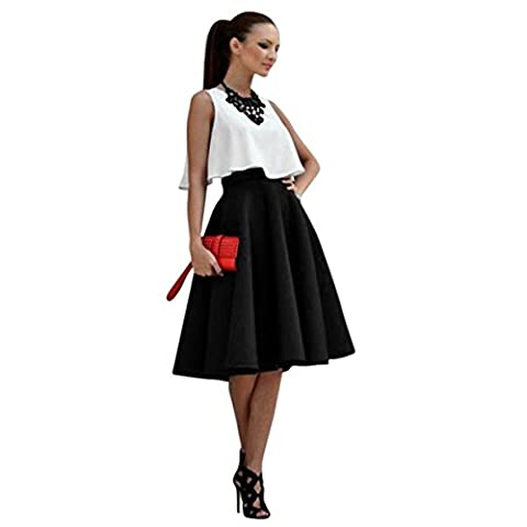 CYBERRY.M Jupe 1 set Femme Casual Crop Top Débardeur Taille Haute Plissé Tutu Mini Skirt Bureau des Affaires Robes (S, Noir)