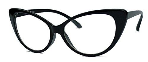 50er Jahre Damen Brille Cat Eye Nerdbrille Klarglas Brillengestell FARBWAHL KE (Schwarz)