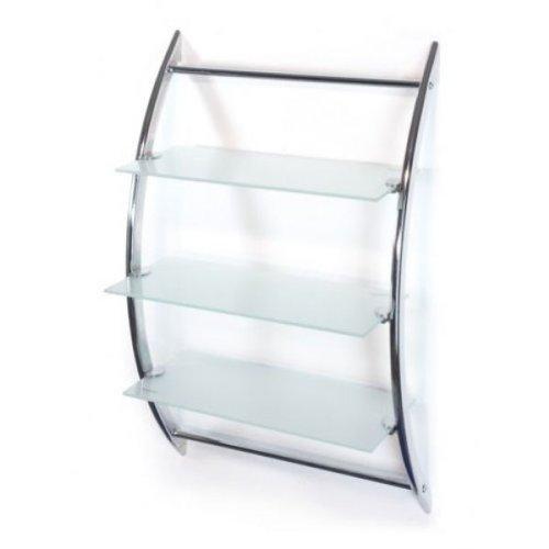 Badregal - Wandregal - Hängeregal- Glasregal A026 - mit 3 Ablagen aus Glas (Frostglas / Milchglas) - Korpus aus hochglanzverchromtem poliertem Metall - mit allem Montagematerial-AWD DESIGN-BESTSELLER