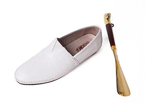 SHIXR Herren Oxford Flats Lazy Schuhe Pedal Erbsen Schuhe Kopfschicht weichen Lederschuhe fahren Schuhe täglich Casual Schuhe White