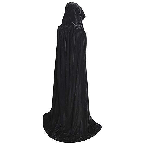 JYOHEY Umhang Schwarz Rot SAMT Umhang Lang Mit Kapuze Umhang Für Halloween Kostüm Zauberer Vampir Kostüm Erwachsene Unisex (Halloween Umhänge Schwarz Samt Kostüm)