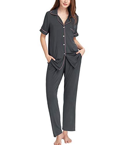 Damen Schlafanzug mit Knopfleiste Kurzarm Baumwolle Zweiteiliger Nachtwäsche PJ Set Dunkelgrau X-Large - Baumwolle Pj Set