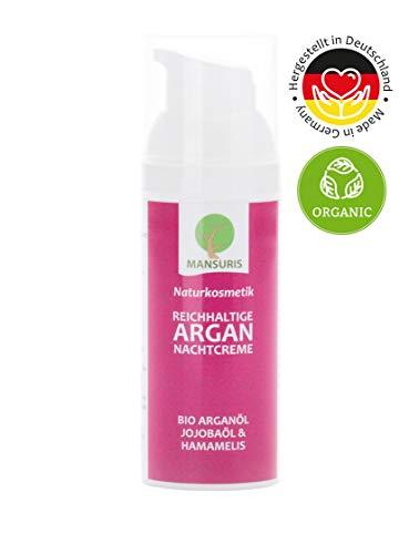 Bio Nachtcreme Rose für Frauen | Mit Arganöl und Jojobaöl für das Gesicht, Feuchtigkeitscreme gegen trockene & unreine Haut, Naturkosmetik spendet Feuchtigkeit für eine Anti-Aging-Pflege 50 ml -