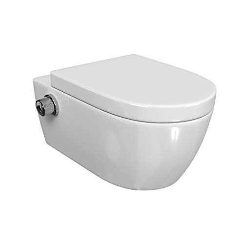 SSWW Spülrandloses Taharet WC inkl. Armatur und abnehmbarer Softclose Sitz & Beschichtung Dusch-WC Intimdusche Toilette mit Bidetfunktion Shattaf