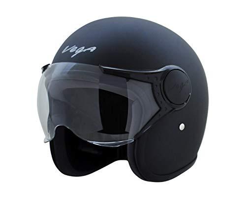 Vega Jet Open Face Helmet (Dull Black, M)