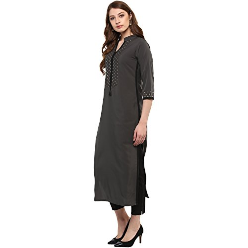 Ziyaa Women's Straight Kurta (zikucr2108-m_grey_medium)