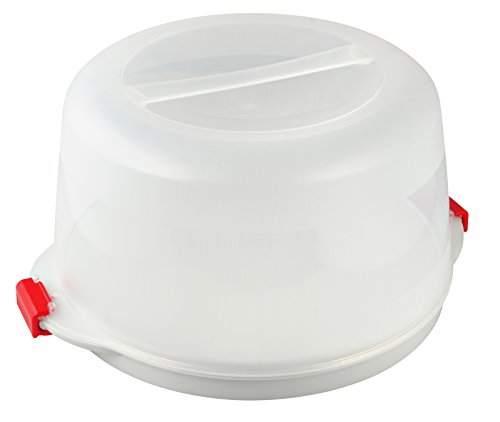 Runde Servierplatte Große, (Dr. Oetker Kuchenbox, Party- und Tortenbutler mit Tragehenkel und Fach für Kühlakkus, runder Kuchenbehälter mit Servierboden (Kuchentransportbox: Ø 38,5x19 cm), Menge: 1 Stück)