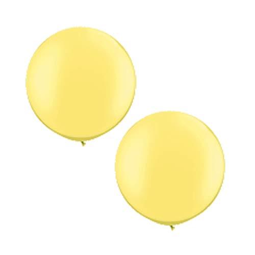 Unbekannt XXL Ballons rund Pastell, Lemon, gelb, 2 St, Riesen Luftballons, 75 cm Durchmesser