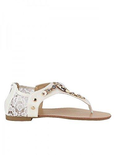 Cendriyon, Tong blanche PERLANA Mode Chaussures Femme Blanc