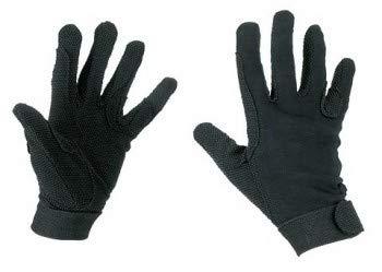 Kerbl Reithandschuhe, Jersey-Baumwolle Handschuhe Noppen, Unisex, schwarz, M