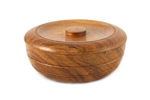 RAZZOOR Rasierschale mit Deckel aus Palisander-Holz - Handgefertigte edle Rasierseifenschale Holz zur Aufbewahrung von Rasierseife
