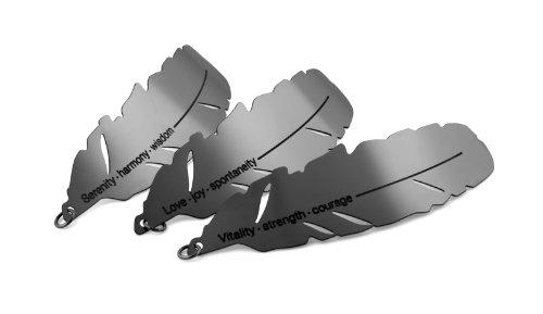 KOSHA swiss made - Collier femme/homme - Cordon ou chaine réglable de 100 à 40cm - Deux pendentifs plume 1x50mm 1x65mm Inox-Or Noir cordon